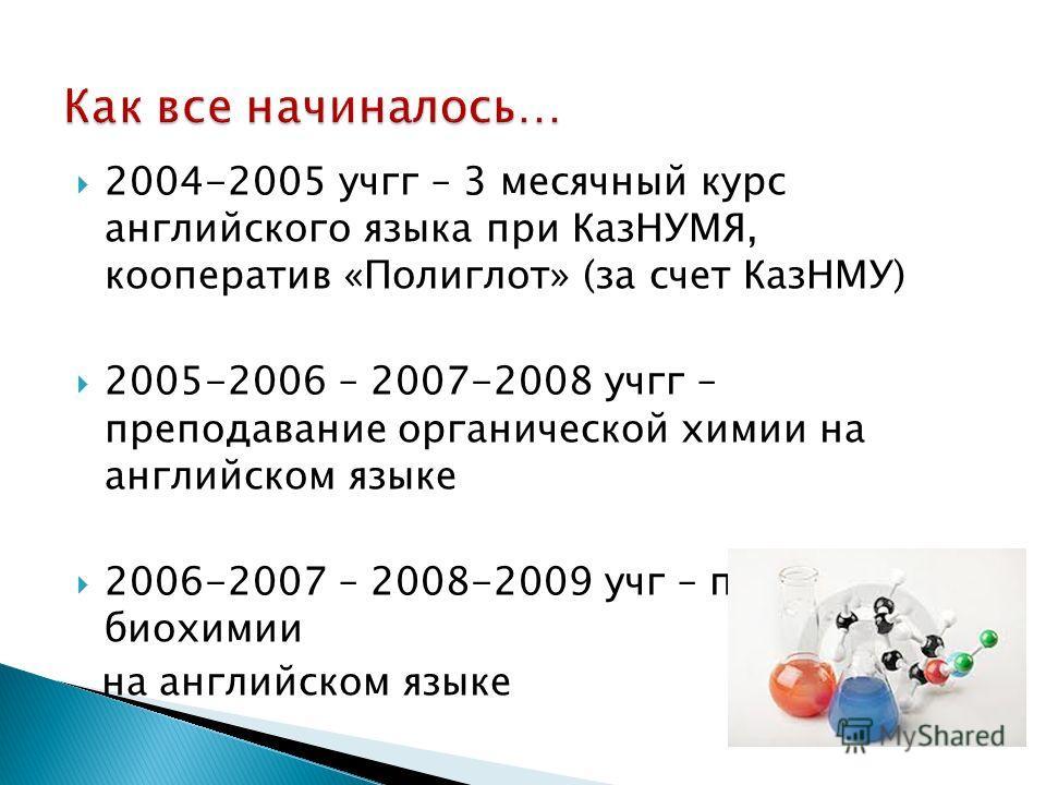 2004-2005 учгг – 3 месячный курс английского языка при КазНУМЯ, кооператив «Полиглот» (за счет КазНМУ) 2005-2006 – 2007-2008 учгг – преподавание органической химии на английском языке 2006-2007 – 2008-2009 учг – преподавание биохимии на английском яз