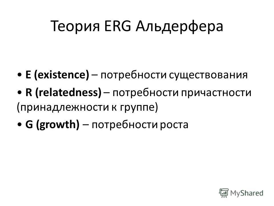 Теория ERG Альдерфера E (existence) – потребности существования R (relatedness) – потребности причастности (принадлежности к группе) G (growth) – потребности роста