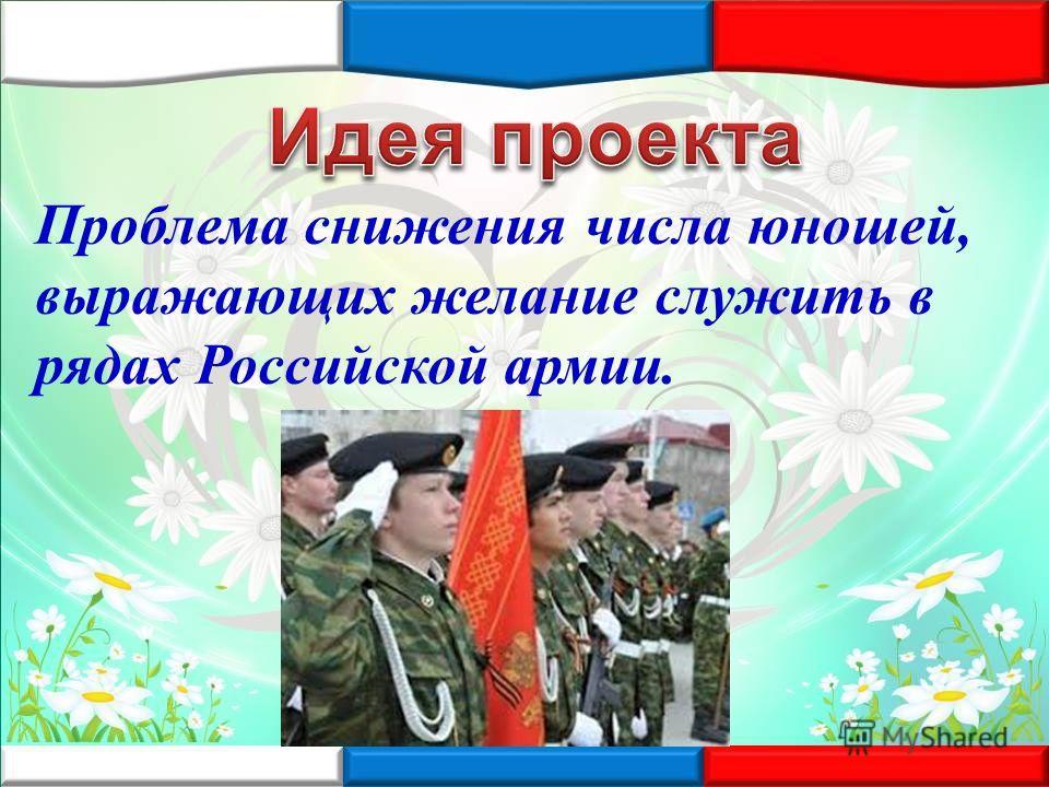 Проблема снижения числа юношей, выражающих желание служить в рядах Российской армии.