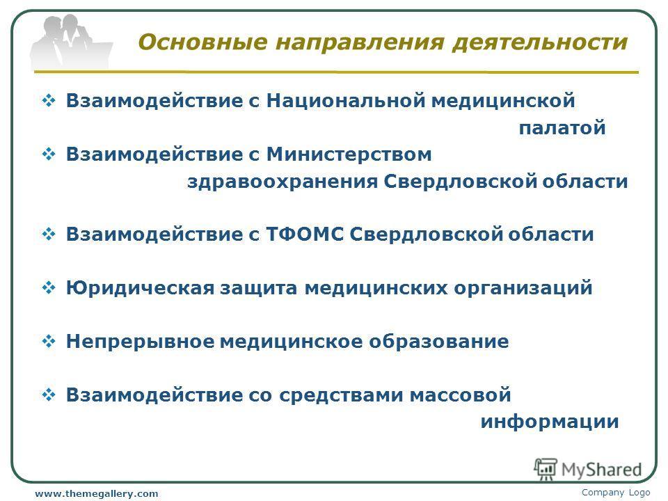Основные направления деятельности Взаимодействие с Национальной медицинской палатой Взаимодействие с Министерством здравоохранения Свердловской области Взаимодействие с ТФОМС Свердловской области Юридическая защита медицинских организаций Непрерывное
