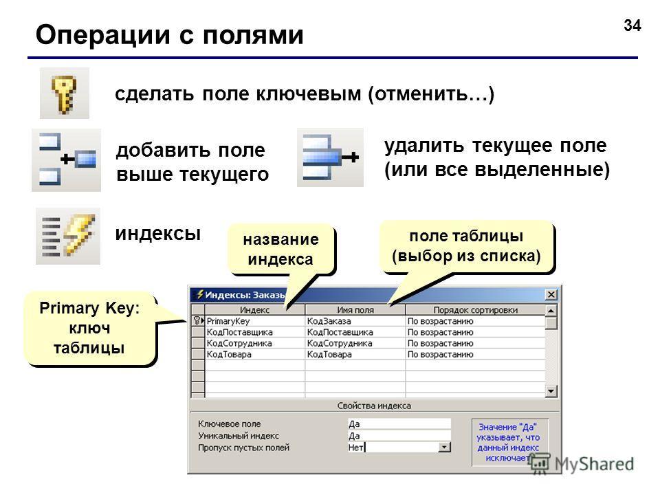 34 Операции с полями сделать поле ключевым (отменить…) добавить поле выше текущего удалить текущее поле (или все выделенные) индексы поле таблицы (выбор из списка) поле таблицы (выбор из списка) Primary Key: ключ таблицы Primary Key: ключ таблицы наз