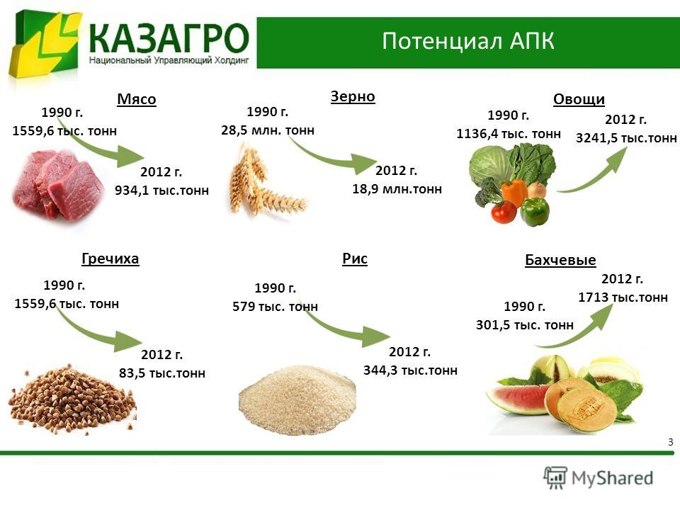 Потенциал АПК 3 2012 г. 934,1 тыс.тонн 1990 г. 1559,6 тыс. тонн Мясо 1990 г. 28,5 млн. тонн 2012 г. 18,9 млн.тонн Зерно Овощи 1990 г. 1136,4 тыс. тонн 2012 г. 3241,5 тыс.тонн Рис 1990 г. 579 тыс. тонн 2012 г. 344,3 тыс.тонн 1990 г. 1559,6 тыс. тонн Г