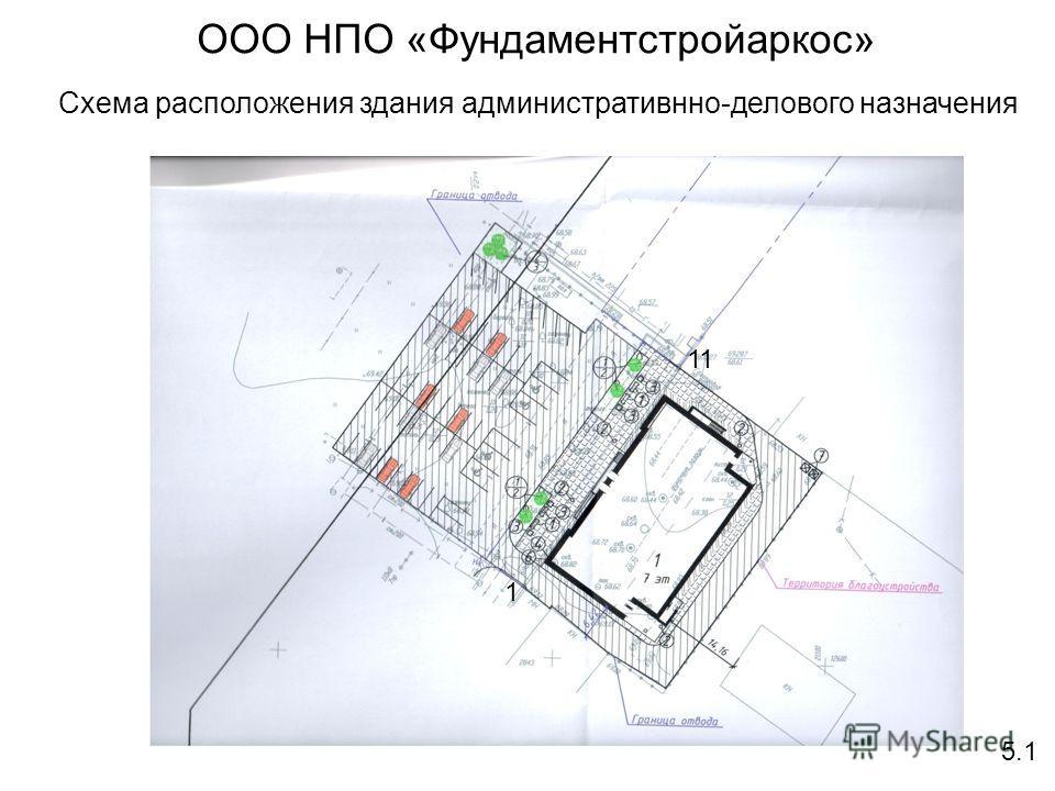 ООО НПО «Фундаментстройаркос» Схема расположения здания административнно-делового назначения 5.1 1 11