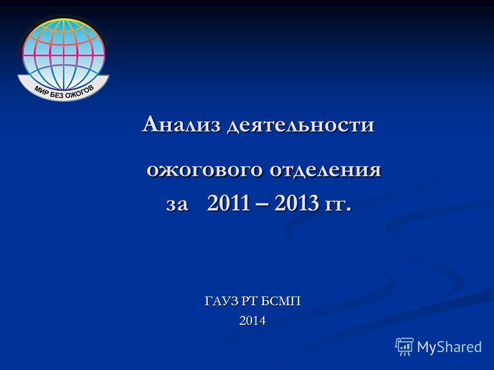 Анализ деятельности ожогового отделения за 2011 – 2013 гг. ГАУЗ РТ БСМП 2014