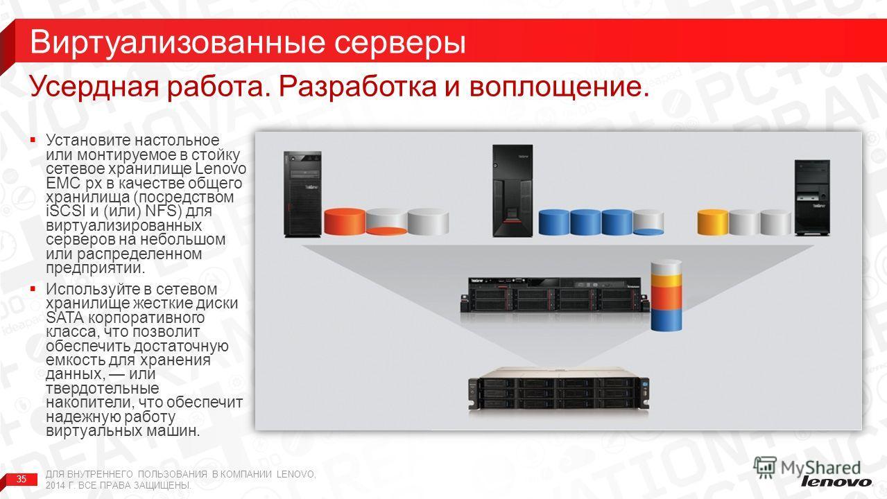 35 Установите настольное или монтируемое в стойку сетевое хранилище Lenovo EMC px в качестве общего хранилища (посредством iSCSI и (или) NFS) для виртуализированных серверов на небольшом или распределенном предприятии. Используйте в сетевом хранилище