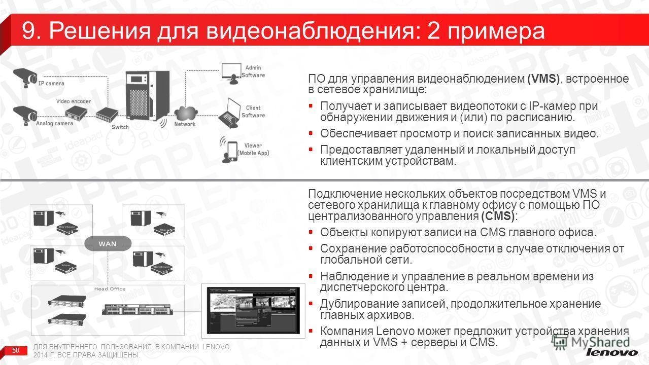 50 ПО для управления видеонаблюдением (VMS), встроенное в сетевое хранилище: Получает и записывает видеопотоки с IP-камер при обнаружении движения и (или) по расписанию. Обеспечивает просмотр и поиск записанных видео. Предоставляет удаленный и локаль