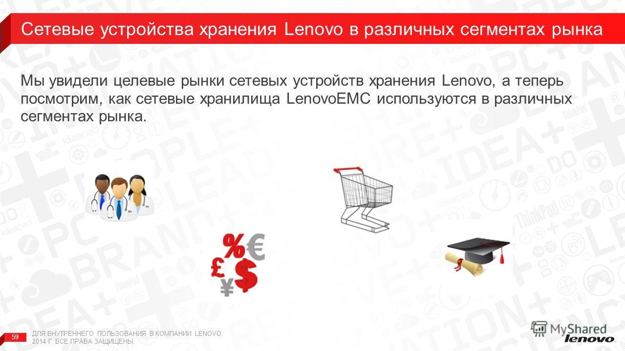 59 Мы увидели целевые рынки сетевых устройств хранения Lenovo, а теперь посмотрим, как сетевые хранилища LenovoEMC используются в различных сегментах рынка. Сетевые устройства хранения Lenovo в различных сегментах рынка ДЛЯ ВНУТРЕННЕГО ПОЛЬЗОВАНИЯ В