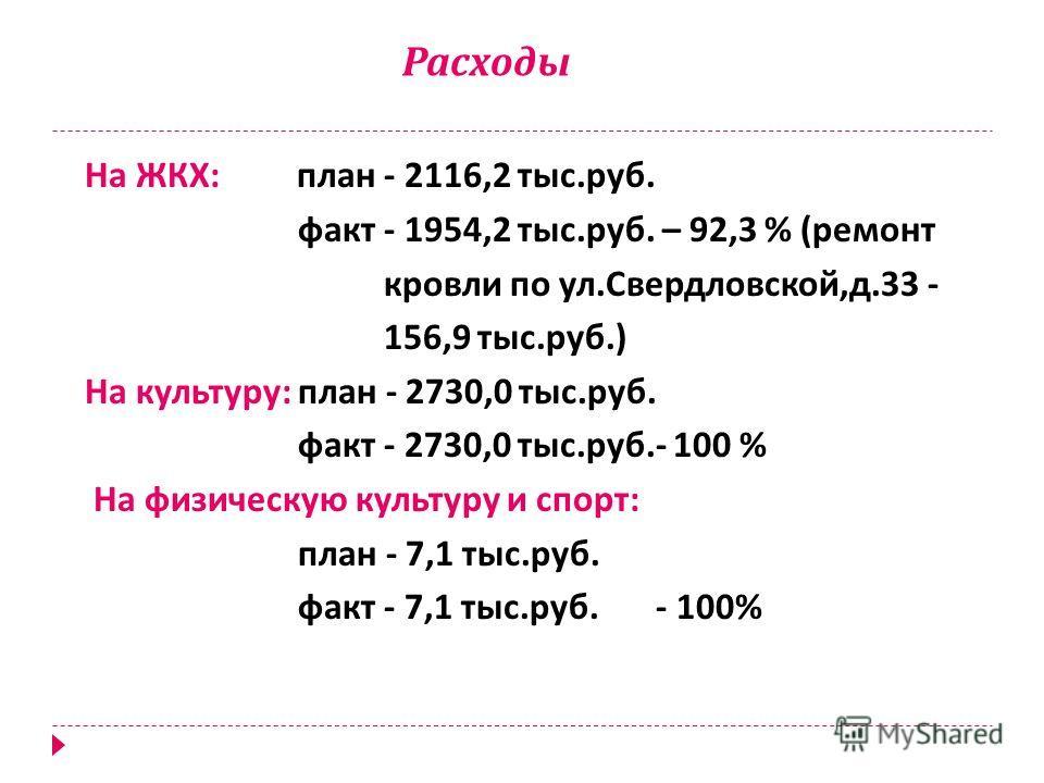 Расходы На ЖКХ : план - 2116,2 тыс. руб. факт - 1954,2 тыс. руб. – 92,3 % ( ремонт кровли по ул. Свердловской, д.33 - 156,9 тыс. руб.) На культуру : план - 2730,0 тыс. руб. факт - 2730,0 тыс. руб.- 100 % На физическую культуру и спорт : план - 7,1 ты