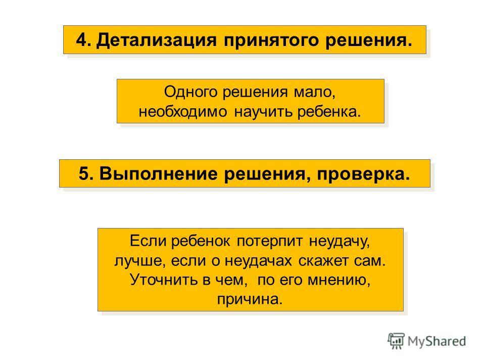 4. Детализация принятого решения. Одного решения мало, необходимо научить ребенка. 5. Выполнение решения, проверка. Если ребенок потерпит неудачу, лучше, если о неудачах скажет сам. Уточнить в чем, по его мнению, причина. Если ребенок потерпит неудач