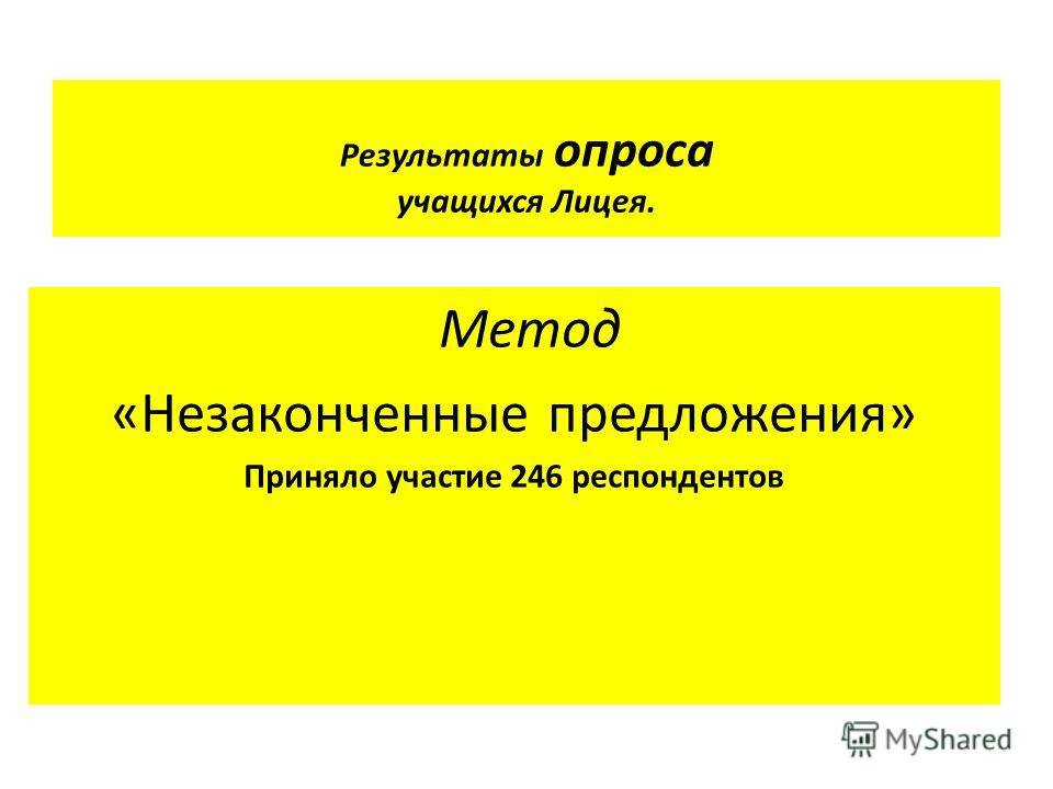 Результаты опроса учащихся Лицея. Метод «Незаконченные предложения» Приняло участие 246 респондентов
