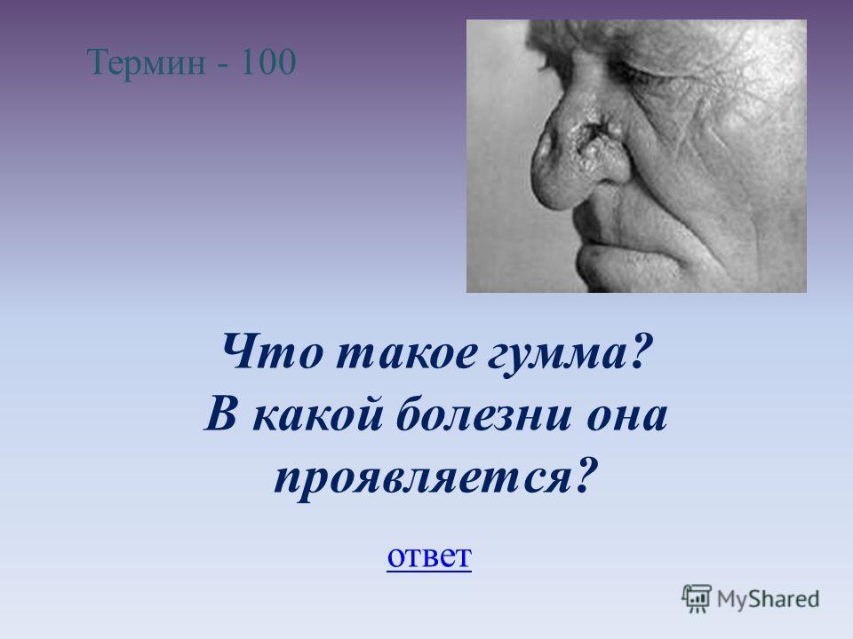 Термин - 100 Что такое гумма? В какой болезни она проявляется? ответ