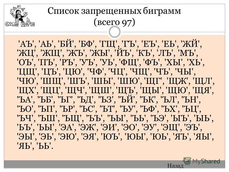 Список запрещенных биграмм (всего 97) 'АЪ', 'АЬ', 'БЙ', 'БФ', 'ГЩ', 'ГЪ', 'ЕЪ', 'ЕЬ', 'ЖЙ', 'ЖЦ', 'ЖЩ', 'ЖЪ', 'ЖЫ', 'ЙЪ', 'КЪ', 'ЛЪ', 'МЪ', 'ОЪ', 'ПЪ', 'РЪ', 'УЪ', 'УЬ', 'ФЩ', 'ФЪ', 'ХЫ', 'ХЬ', 'ЦЩ', 'ЦЪ', 'ЦЮ', 'ЧФ', 'ЧЦ', 'ЧЩ', 'ЧЪ', 'ЧЫ', 'ЧЮ', 'Ш