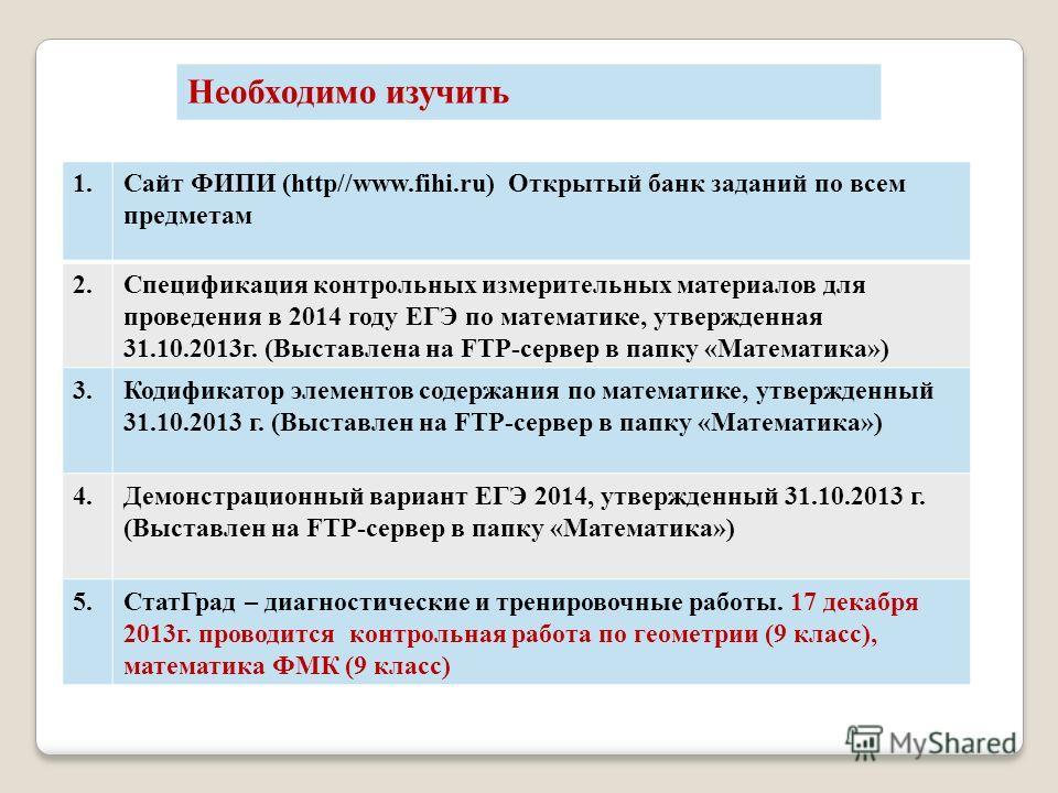 1.Сайт ФИПИ (http//www.fihi.ru) Открытый банк заданий по всем предметам 2.Спецификация контрольных измерительных материалов для проведения в 2014 году ЕГЭ по математике, утвержденная 31.10.2013г. (Выставлена на FTP-сервер в папку «Математика») 3.Коди