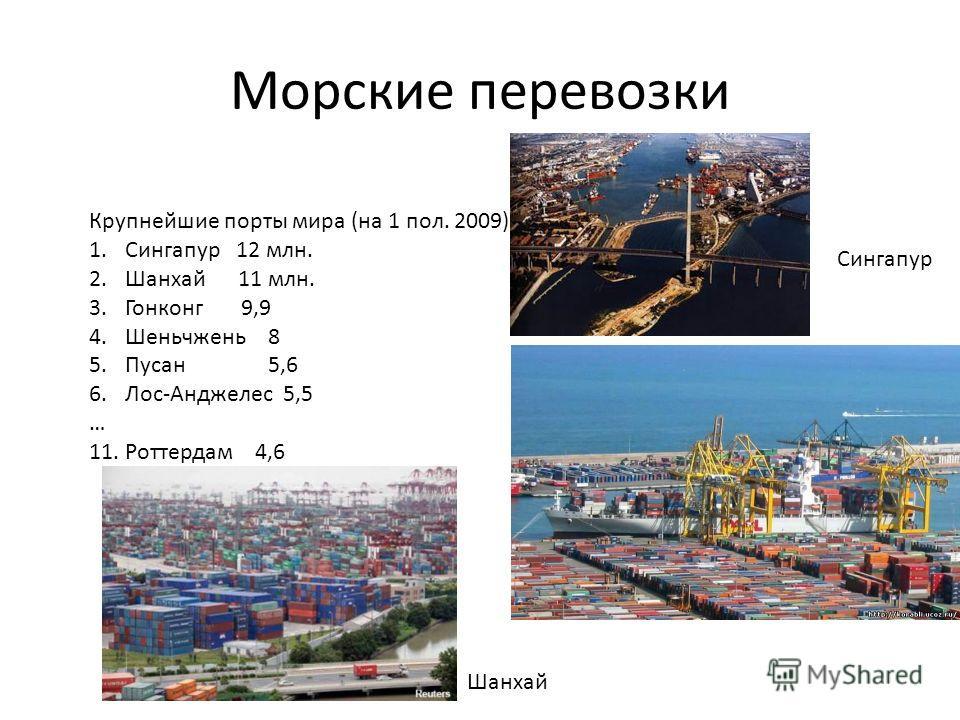 Морские перевозки Крупнейшие порты мира (на 1 пол. 2009) 1.Сингапур 12 млн. 2.Шанхай 11 млн. 3.Гонконг 9,9 4.Шеньчжень 8 5.Пусан 5,6 6.Лос-Анджелес 5,5 … 11. Роттердам 4,6 Сингапур Шанхай