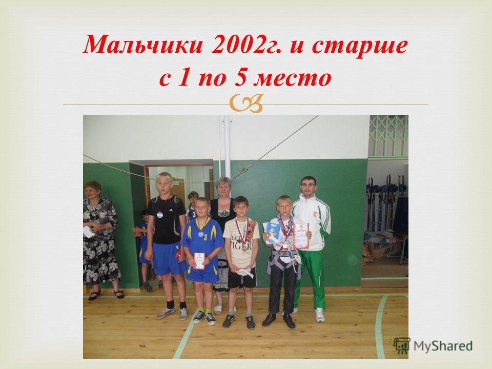 Мальчики 2002 г. и старше с 1 по 5 место