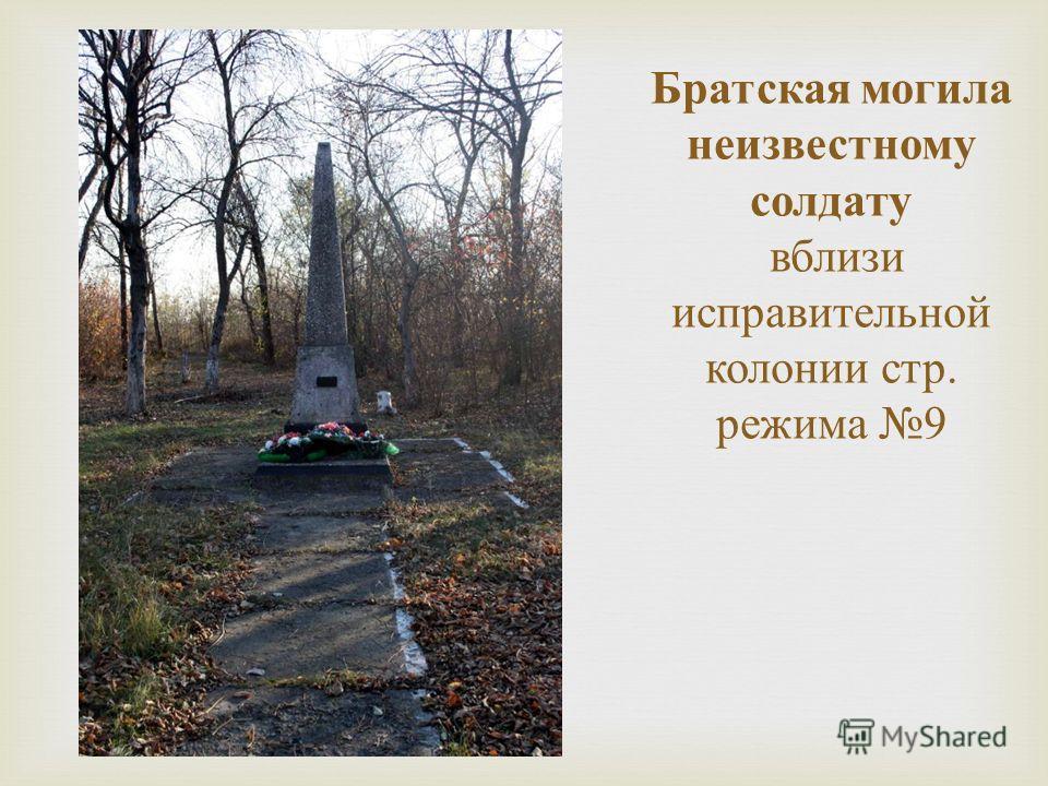 Братская могила неизвестному солдату вблизи исправительной колонии стр. режима 9