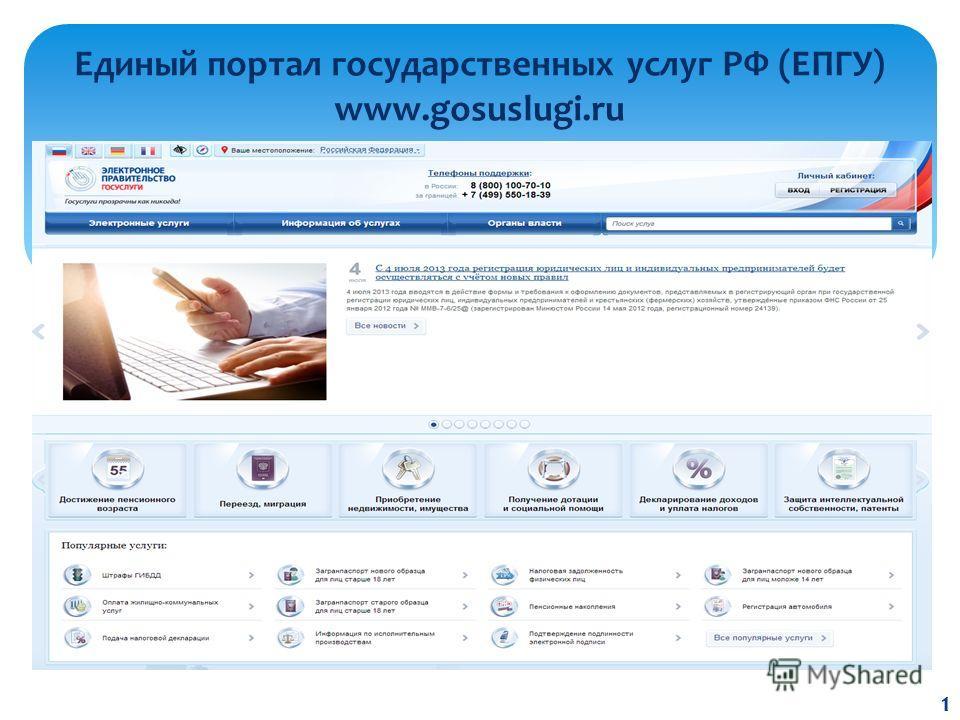 Единый портал государственных услуг РФ (ЕПГУ) www.gosuslugi.ru 1