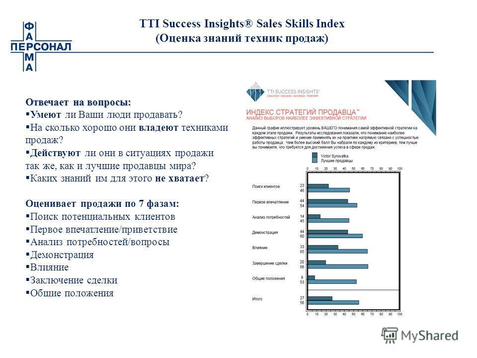 TTI Success Insights® Sales Skills Index (Оценка знаний техник продаж) Отвечает на вопросы: Умеют ли Ваши люди продавать? На сколько хорошо они владеют техниками продаж? Действуют ли они в ситуациях продажи так же, как и лучшие продавцы мира? Каких з