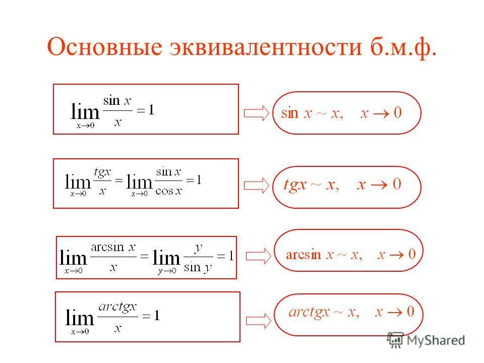 Основные эквивалентности б.м.ф.