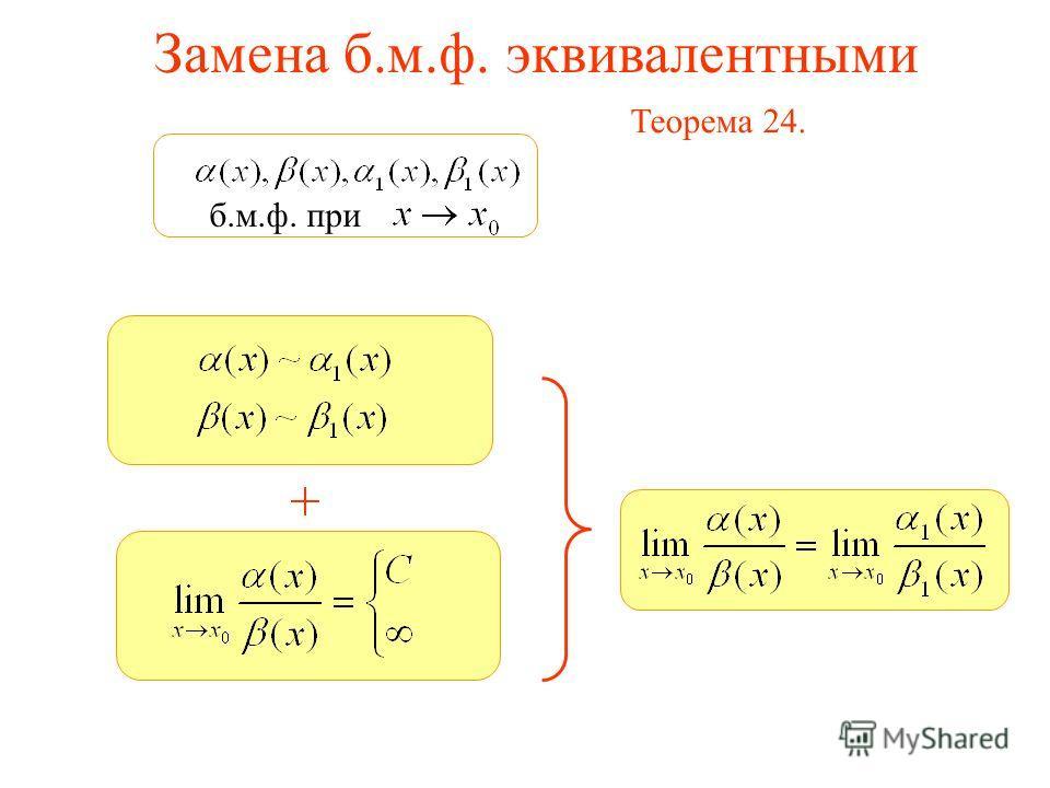 б.м.ф. при Замена б.м.ф. эквивалентными Теорема 24.