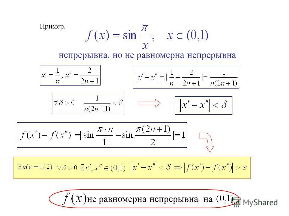 Пример. непрерывна, но не равномерна непрерывна не равномерна непрерывна на