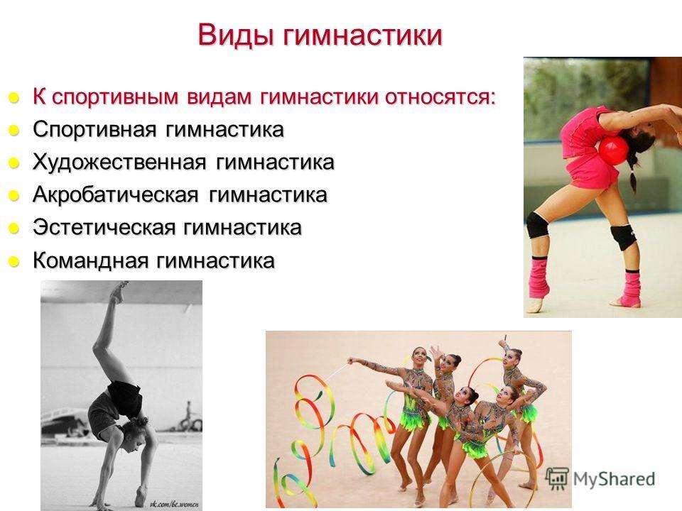 Виды гимнастики К спортивным видам гимнастики относятся: Спортивная гимнастика Художественная гимнастика Акробатическая гимнастика Эстетическая гимнастика Командная гимнастика