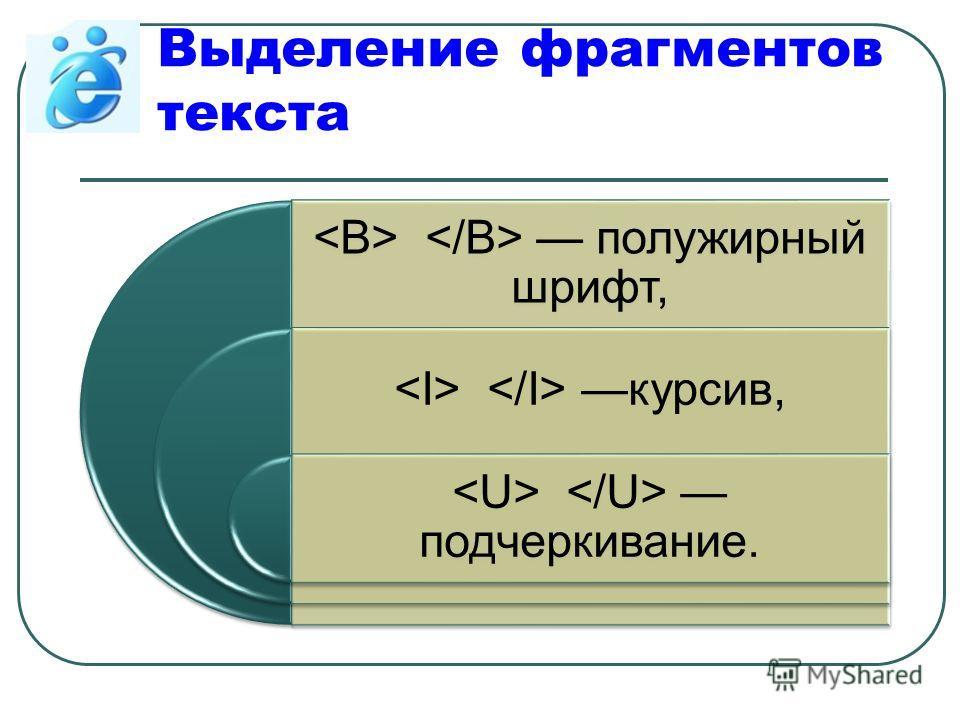 Выделение фрагментов текста полужирный шрифт, курсив, подчеркивание.