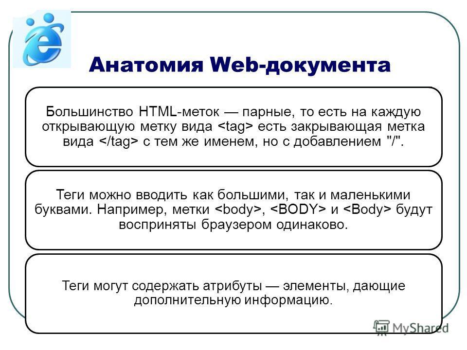 Анатомия Web-документа Большинство HTML-меток парные, то есть на каждую открывающую метку вида есть закрывающая метка вида с тем же именем, но с добавлением