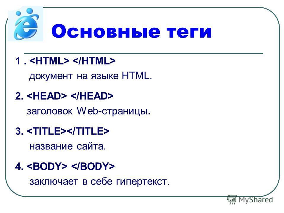 Основные теги 1. документ на языке HTML. 2. заголовок Web-страницы. 3. название сайта. 4. заключает в себе гипертекст.