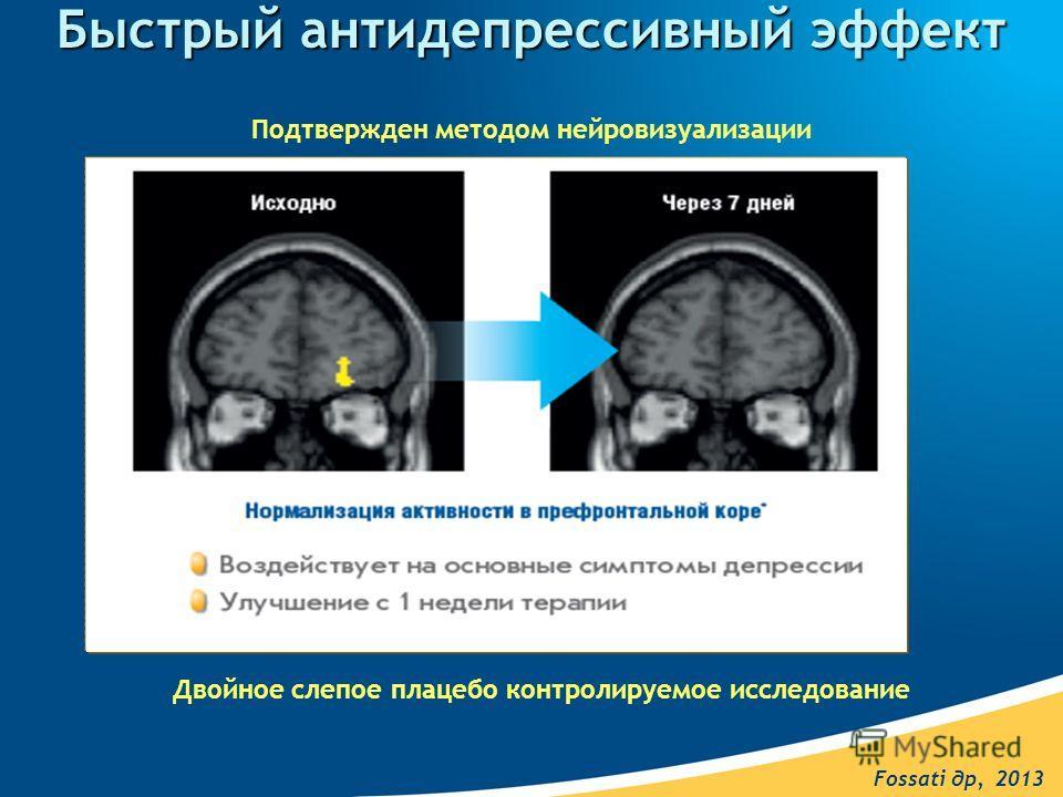 Быстрый антидепрессивный эффект Двойное слепое плацебо контролируемое исследование Fossati др, 2013 Подтвержден методом нейровизуализации