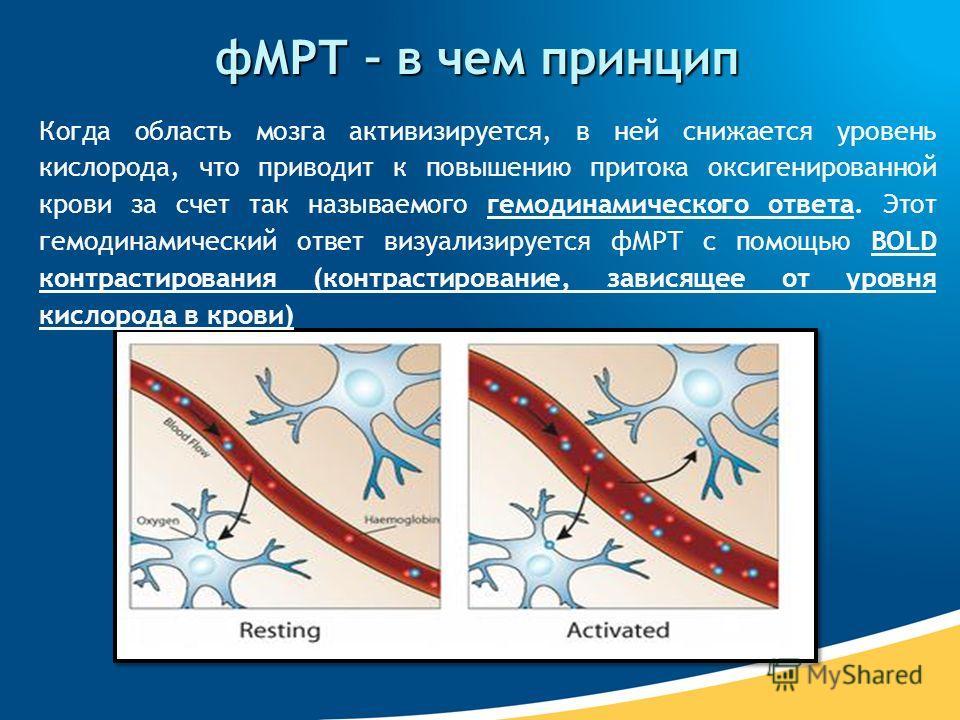 фМРТ – в чем принцип Когда область мозга активизируется, в ней снижается уровень кислорода, что приводит к повышению притока оксигенированной крови за счет так называемого гемодинамического ответа. Этот гемодинамический ответ визуализируется фМРТ с п