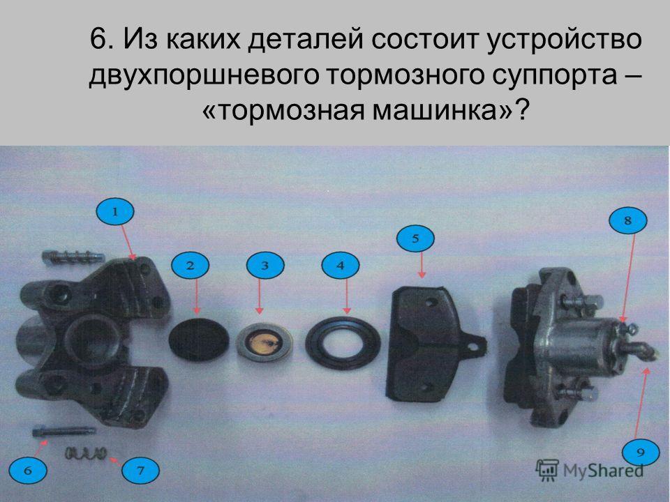 6. Из каких деталей состоит устройство двухпоршневого тормозного суппорта – «тормозная машинка»?