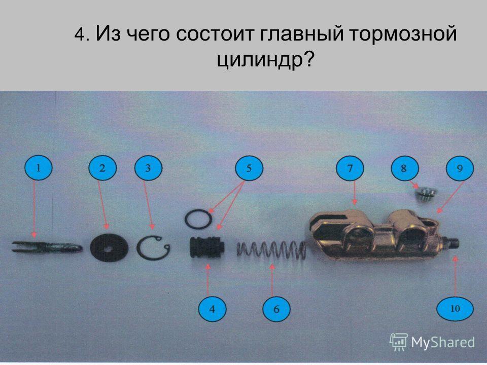 4. Из чего состоит главный тормозной цилиндр?