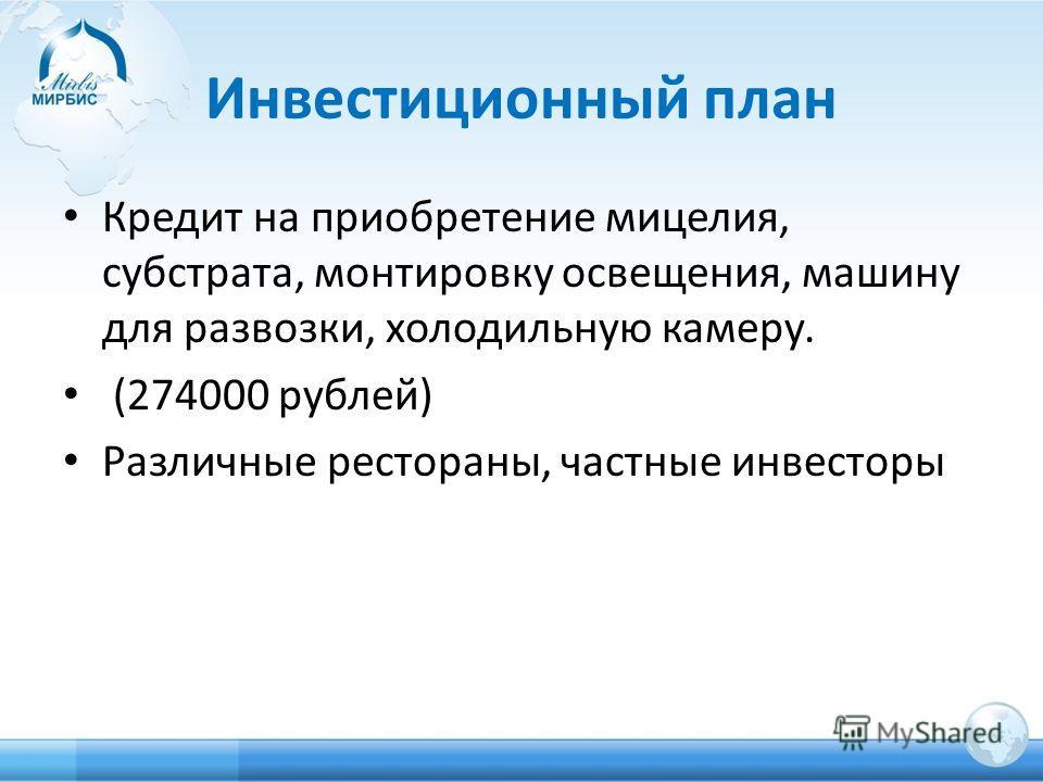 Инвестиционный план Кредит на приобретение мицелия, субстрата, монтировку освещения, машину для развозки, холодильную камеру. (274000 рублей) Различные рестораны, частные инвесторы