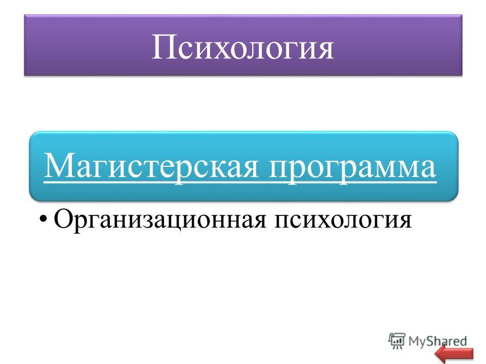 Психология Магистерская программа Организационная психология