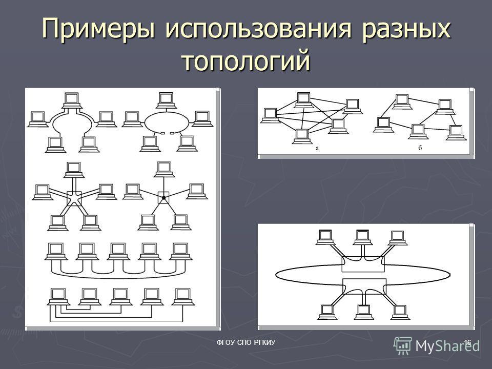 ФГОУ СПО РГКИУ16 Примеры использования разных топологий