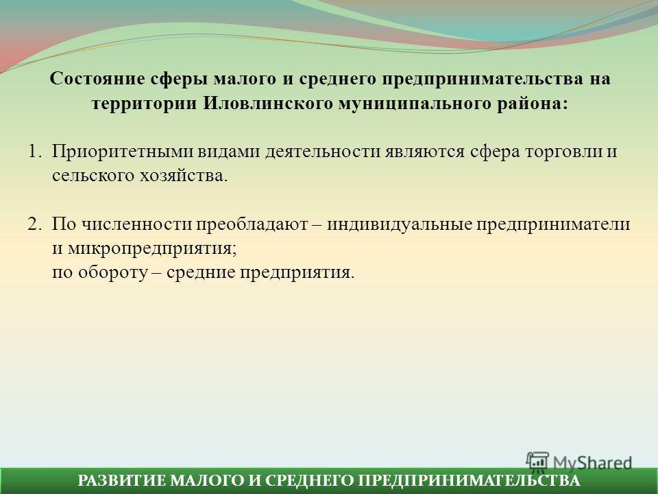 Состояние сферы малого и среднего предпринимательства на территории Иловлинского муниципального района: 1.Приоритетными видами деятельности являются сфера торговли и сельского хозяйства. 2.По численности преобладают – индивидуальные предприниматели и