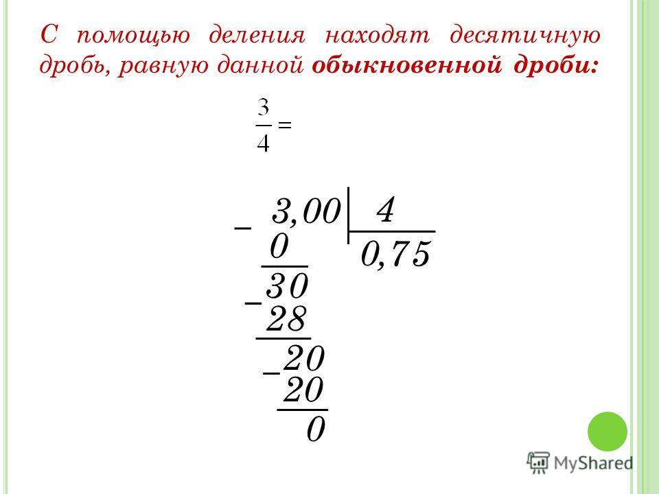 С помощью деления находят десятичную дробь, равную данной обыкновенной дроби: 3 4, 0 0 3 7 28 2 5 20 0 0 0,00