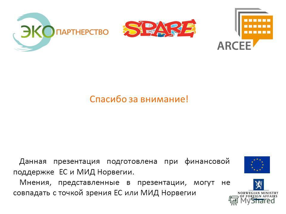 Данная презентация подготовлена при финансовой поддержке ЕС и МИД Норвегии. Мнения, представленные в презентации, могут не совпадать с точкой зрения ЕС или МИД Норвегии Спасибо за внимание!