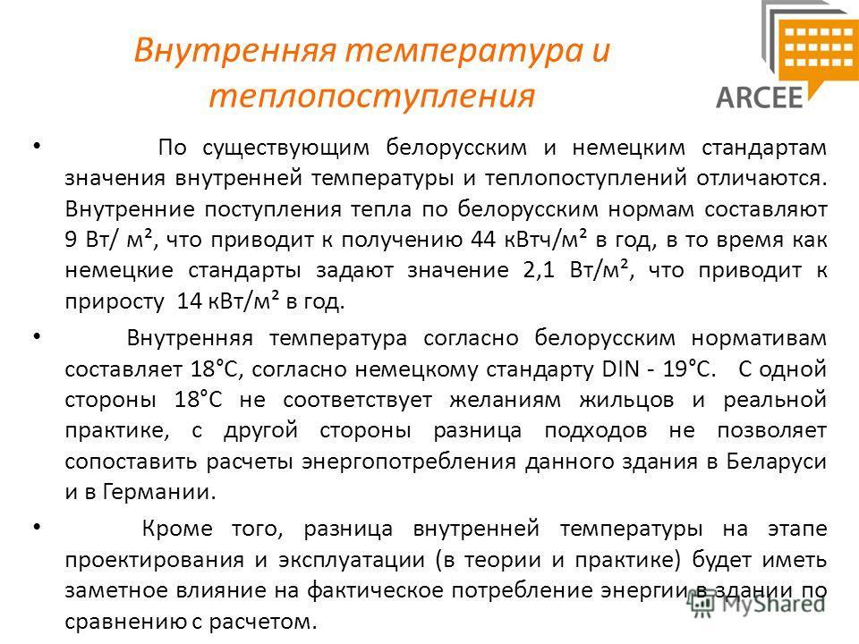 Внутренняя температура и теплопоступления По существующим белорусским и немецким стандартам значения внутренней температуры и теплопоступлений отличаются. Внутренние поступления тепла по белорусским нормам составляют 9 Вт/ м², что приводит к получени