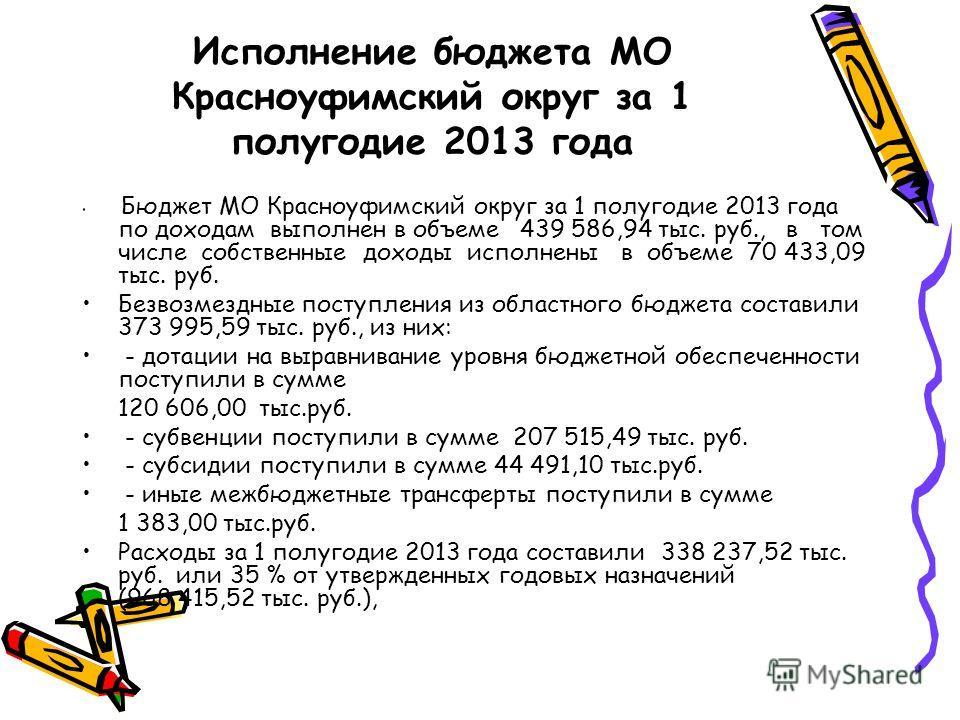 Исполнение бюджета МО Красноуфимский округ за 1 полугодие 2013 года Бюджет МО Красноуфимский округ за 1 полугодие 2013 года по доходам выполнен в объеме 439 586,94 тыс. руб., в том числе собственные доходы исполнены в объеме 70 433,09 тыс. руб. Безво