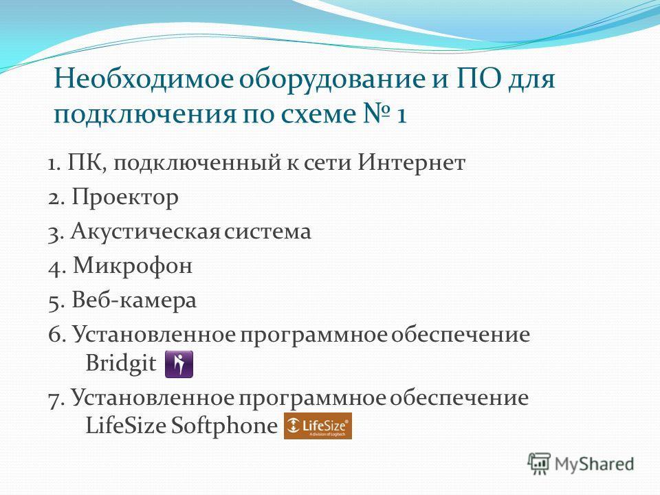 Необходимое оборудование и ПО для подключения по схеме 1 1. ПК, подключенный к сети Интернет 2. Проектор 3. Акустическая система 4. Микрофон 5. Веб-камера 6. Установленное программное обеспечение Bridgit 7. Установленное программное обеспечение LifeS