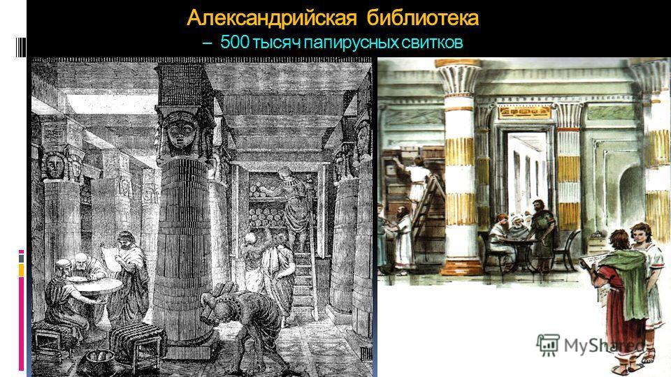 Александрийская библиотека – 500 тысяч папирусных свитков
