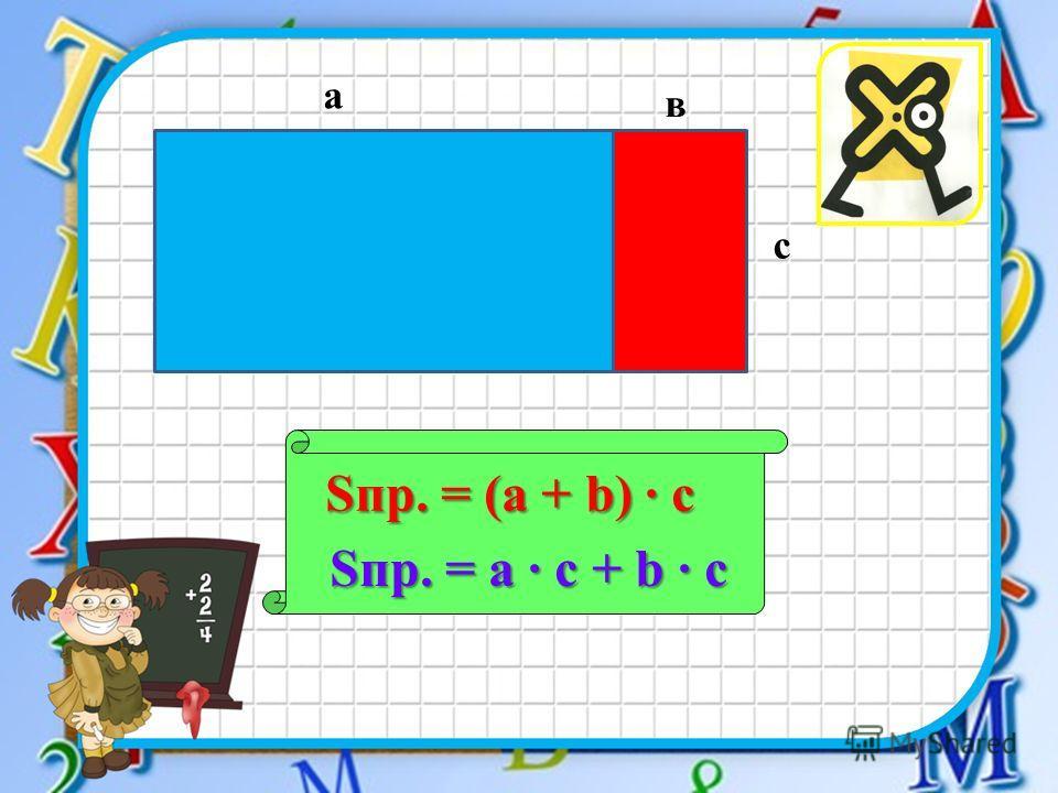 а в Sпр. = (a + b) с с Sпр. = a с + b с