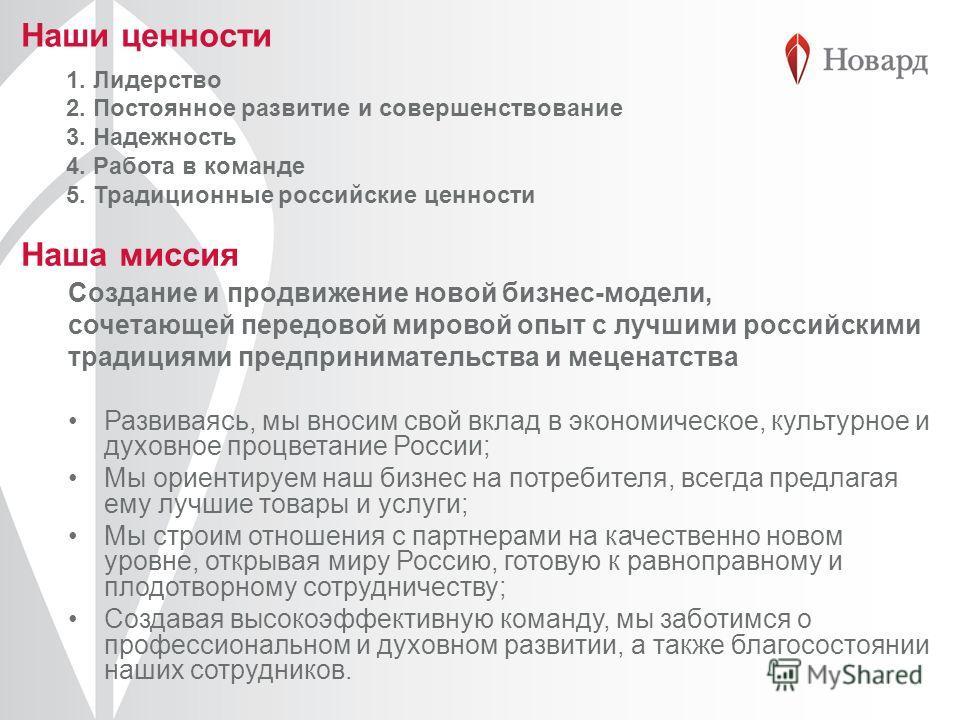 1. Лидерство 2. Постоянное развитие и совершенствование 3. Надежность 4. Работа в команде 5. Традиционные российские ценности Наши ценности Наша миссия Создание и продвижение новой бизнес-модели, сочетающей передовой мировой опыт с лучшими российским