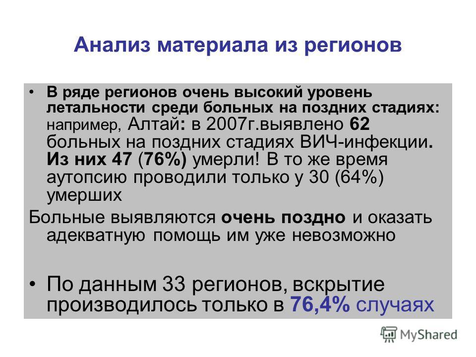 Анализ материала из регионов В ряде регионов очень высокий уровень летальности среди больных на поздних стадиях: например, Алтай: в 2007г.выявлено 62 больных на поздних стадиях ВИЧ-инфекции. Из них 47 (76%) умерли! В то же время аутопсию проводили то