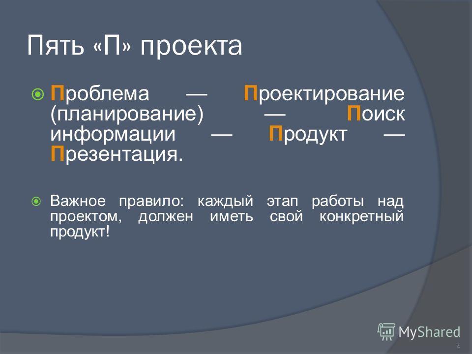 Пять «П» проекта Проблема Проектирование (планирование) Поиск информации Продукт Презентация. Важное правило: каждый этап работы над проектом, должен иметь свой конкретный продукт! 4