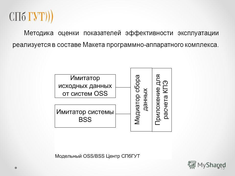 Методика оценки показателей эффективности эксплуатации реализуется в составе Макета программно-аппаратного комплекса. 15