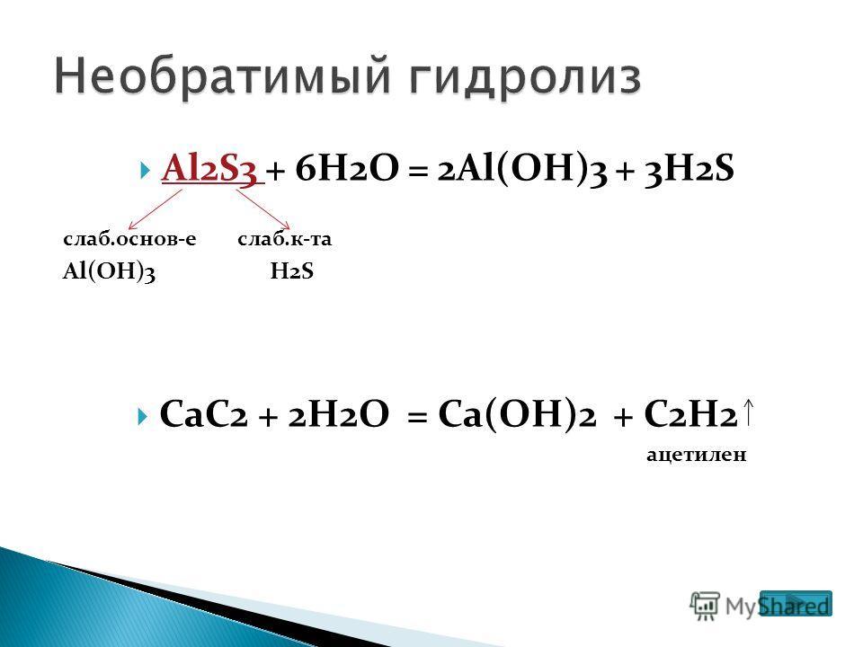 Al2S3 + 6H2O = 2Al(OH)3 + 3H2S слаб.основ-е слаб.к-та Al(OH)3 H2S CaC2 + 2H2O = Ca(OH)2 + C2H2 ацетилен