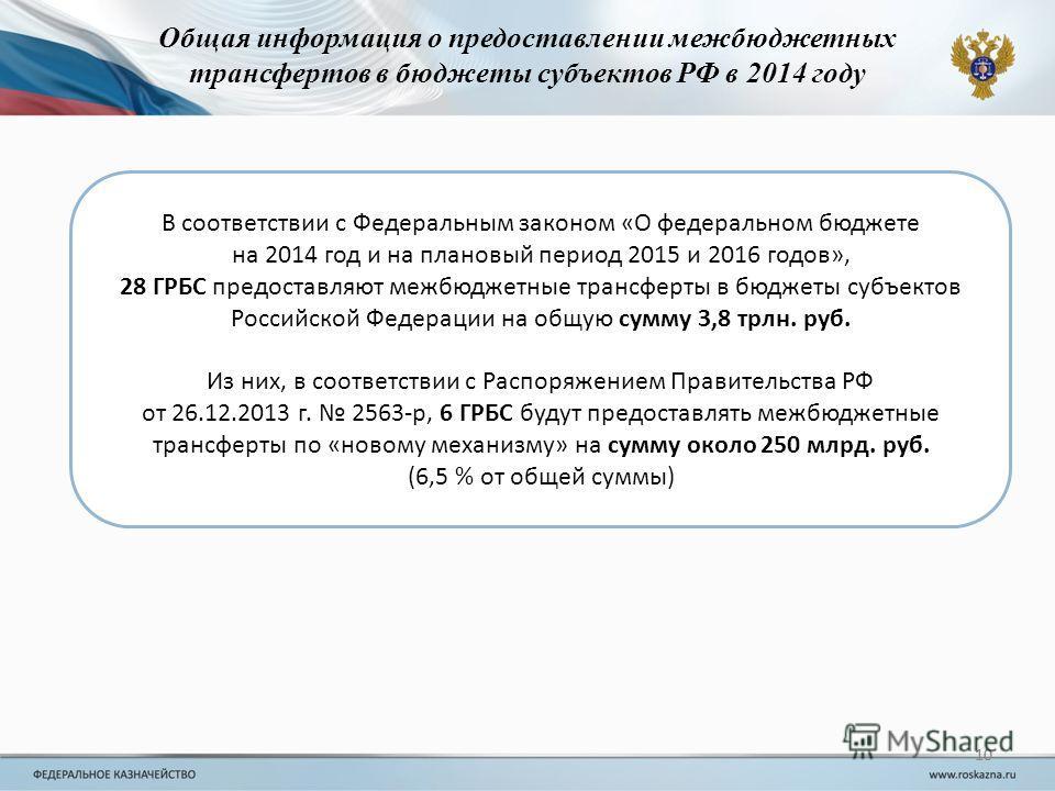 10 В соответствии с Федеральным законом «О федеральном бюджете на 2014 год и на плановый период 2015 и 2016 годов», 28 ГРБС предоставляют межбюджетные трансферты в бюджеты субъектов Российской Федерации на общую сумму 3,8 трлн. руб. Из них, в соответ
